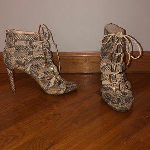 Snake skin lace up heels